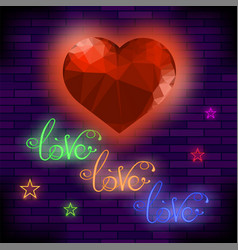 red neon love sign vector image