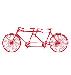 Retro red silhouette tandem bicycle isolated vector