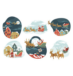 santa claus riding on sledges giving presents for vector image