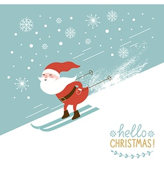 santa skiing down a mountain slope vector image