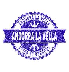 scratched textured andorra la vella stamp seal vector image