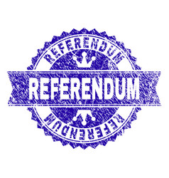 Scratched textured referendum stamp seal with vector