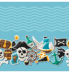 seamless pattern on pirate theme with stickers vector image