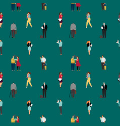 seamless pattern with people walking dating vector image