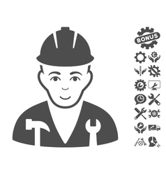 Serviceman Icon With Tools Bonus vector