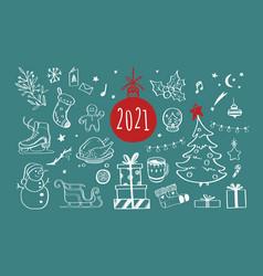 set christmas design doodle elements vector image
