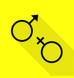 sex symbol sign black icon with flat style shadow vector image