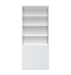 Showcase display retail shelf rack front view vector