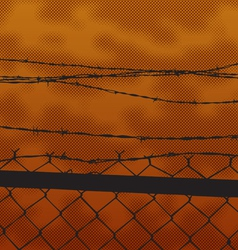 silhouette fence at sunset vector image vector image