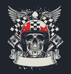 Skull of biker in t-shirt style design vector