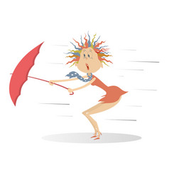 strong wind rain and woman with umbrella isolated vector image