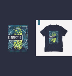 summer graphic tee design with pineapple stylish vector image