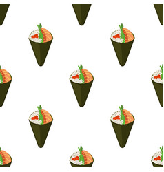 temaki tasty food seamless pattern vector image
