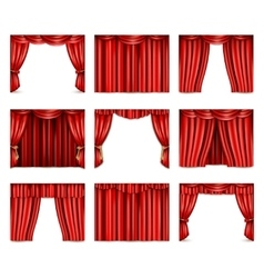 Theatre Curtain Icons Set vector