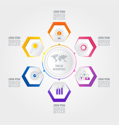 timeline infographic business concept with 6 vector image