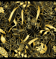 tropical gold seamless pattern vector image