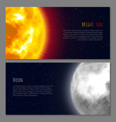 Two flayers with celestial bodies moon and sun vector