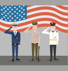 Veterans army forces day celebration with flag vector