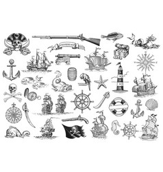 vintage monochrome marine icons collection vector image