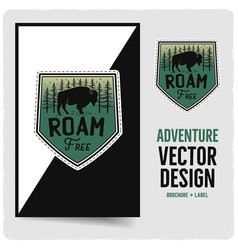 Vintage roam free badge and brochure vector