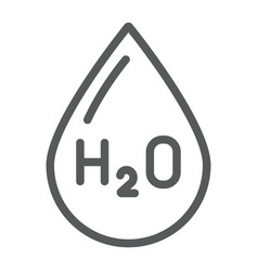 Water formula line icon chemical and water h2o vector