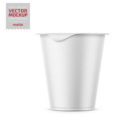 White yogurt pot with foil cover mockup vector