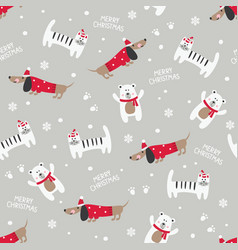 Winter seamless pattern with cute cats dogs and vector
