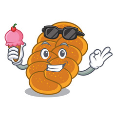 With ice cream challah character cartoon style vector