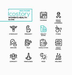 women health - line design style icons set vector image
