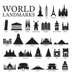 world countries landmarks silhouette set vector image