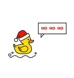 Yellow rubber duck merry christmas christmas card vector