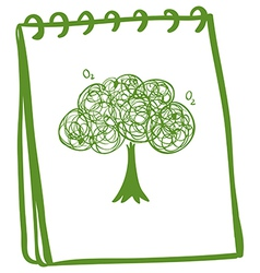 A green notebook with a drawing of a tree vector image vector image