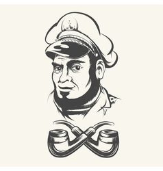 Captain with smoking pipes vector image vector image