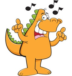 Cartoon dinosaur singing with musical notes vector image vector image
