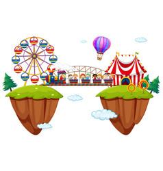 children riding train at funpark vector image