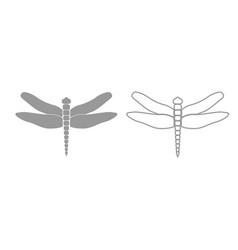 dragonfly grey set icon vector image