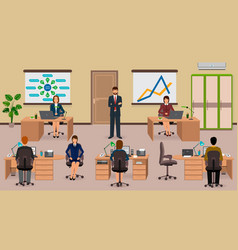 office interior with employee and boss teamwork vector image