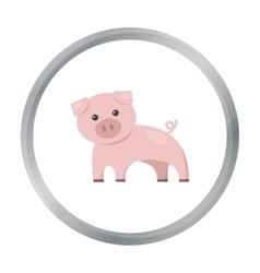 Pig cartoon icon for web and mobile vector image