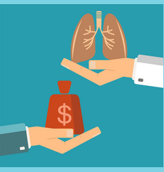 transplant lungs patient hand hold money doctor vector image