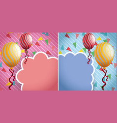 two border design with yellow and red balloons vector image