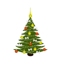 flat cartoon spruce tree decorated vector image