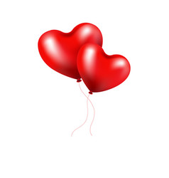 red balloons heart vector image vector image