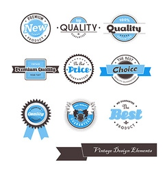 Set of nine blue vintage labels vector image vector image