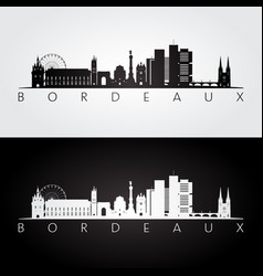 bordeaux skyline and landmarks silhouette vector image vector image