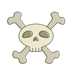 funny skull with bones crossed vector image vector image