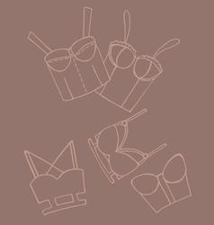 Set of women bra doodle underwear vector image