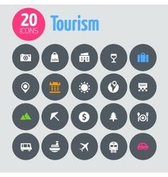 Flat minimalistic tourism icons on dark gray vector image vector image