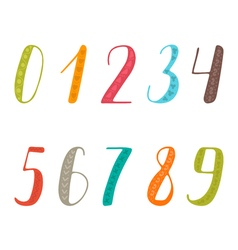 Hand drawn numbers set Collection of colorful vector image