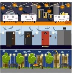 Happy halloween holiday party interior concept vector image vector image