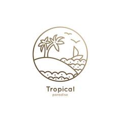 logo boat in tropics vector image